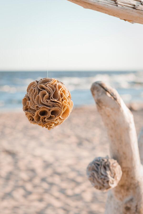 Džutas auduma bumba (pom-pom)