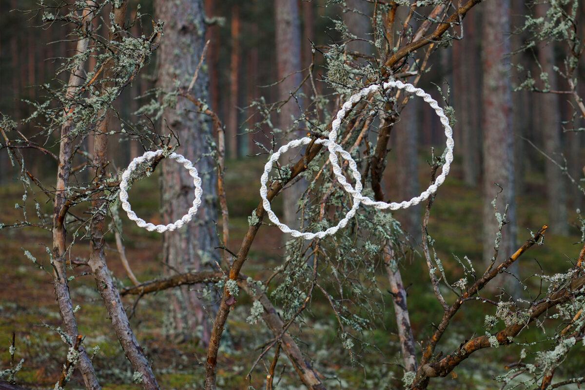 Dekoratīvi mezgloti apļi, dabīga kokvilna/gaiši bēša