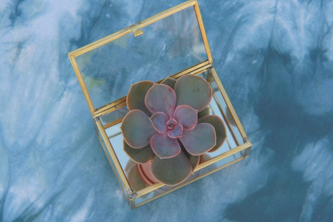 Stikla - metāla kastīte 10x5x7 cm