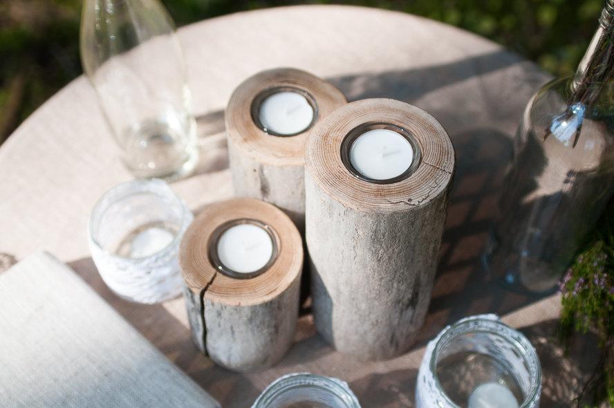 Sauso koku svečturi, komplekts (3 gb.)