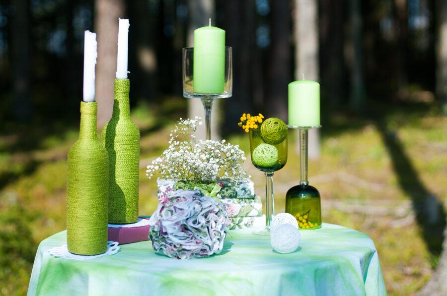 Pudele ar tamborētu auklu, zaļa