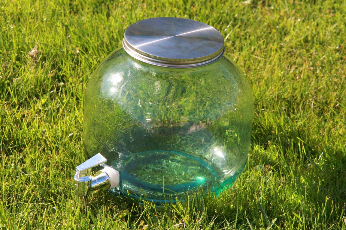 Stikla trauks ar dozatoru/krānu, 6L